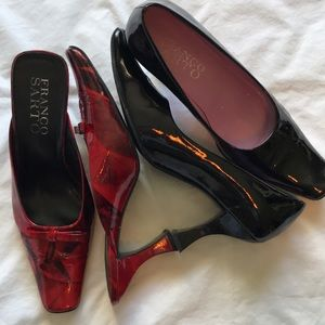 Red patent mules cake stand heel. Black are free
